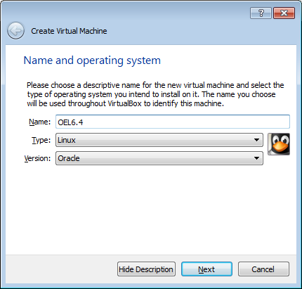 Create a new machine with Virtualbox