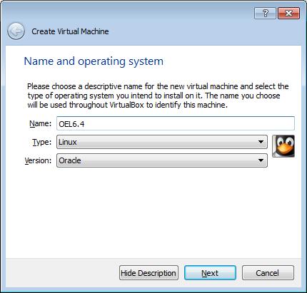 Create a new machine with Virtualbox